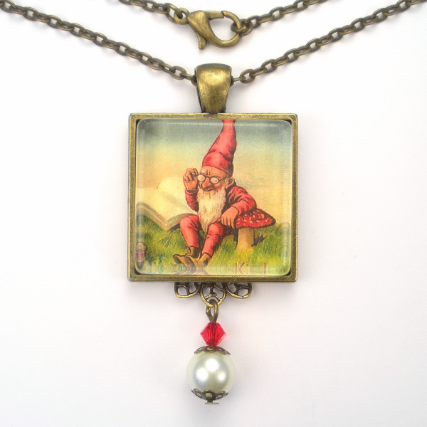 Reading Earrings: GNOME ELF READING BY MUSHROOM ART GLASS PENDANT NECKLACE