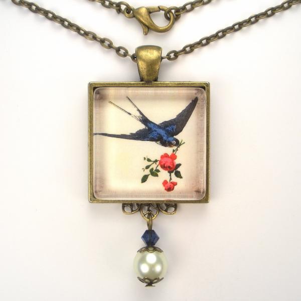bluebird blue bird pearl pendant brass necklace