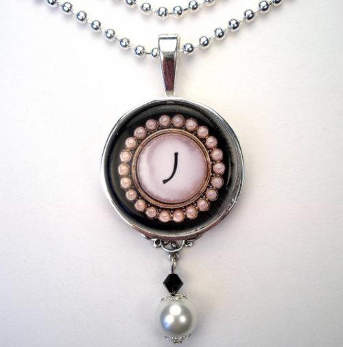 Initial Letter J Monogram Pearl Charm Pendant Necklace
